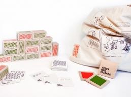 Gesellschaftsspiel Alles nur Fassade Spielsteine und Spielkarten