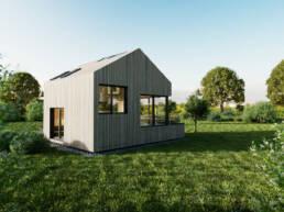 Eine Seitenansicht von dem Tiny House