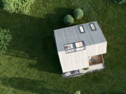 Eine Luftaufnahme von dem Tiny House
