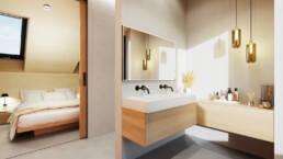 Ein Badezimmer mit Waschtischen, einer begehbaren Dusche.