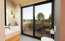 Ein Badezimmer mit Dachterrasse