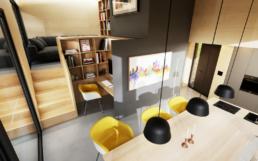 Neben der Küche befindet sich das Esszimmer mit Arbeitbeitsecke