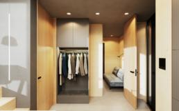 Eine Garderobe und raumhohe Türen für den Flur
