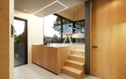Die Küche hat viel Stauraum und eine ausklappbare Arbeitsfläche