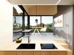 Die Küche liegt am Esszimmer dran. Über eine kleine Treppe ist das Esszimmer erreichbar