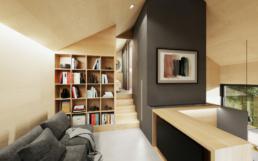 In dem Wohnzimmer befindet sich ein großer Bücherschrank und ein Überblick auf die unteren Zimmer.